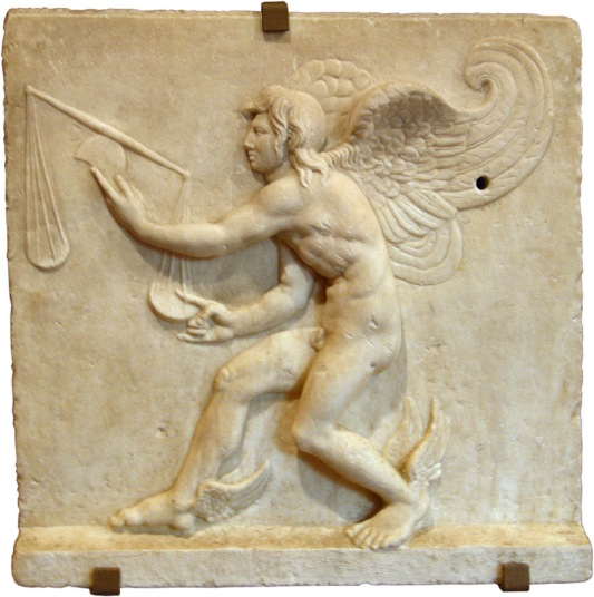 Turin, Museum of Antiquities. Kairos. Marble bas-relief. Roman c
